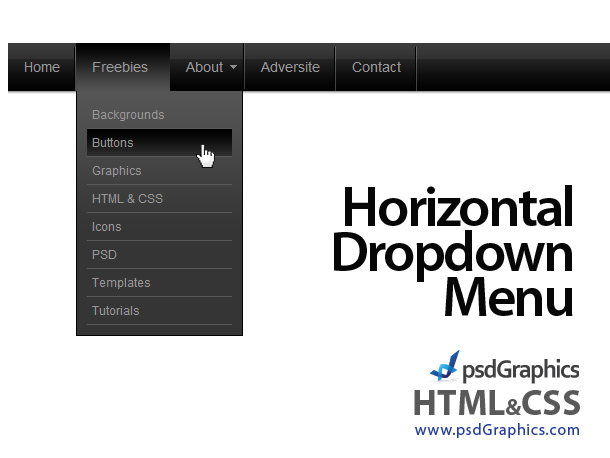 Black horizontal html and css dropdown menu notes n for Html template with drop down menu